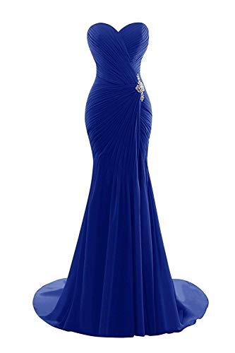 Asbridal Femmes Élégante Robe De Demoiselle D'honneur Bustier Chérie En Mousseline De Soie Longueur De Plancher Bleu Royal