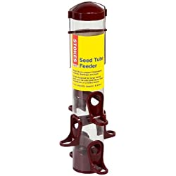 Stokes Select Seed Tube Feeder with 6 Feeding Ports, Dark Red, 1.6 lb Capacity