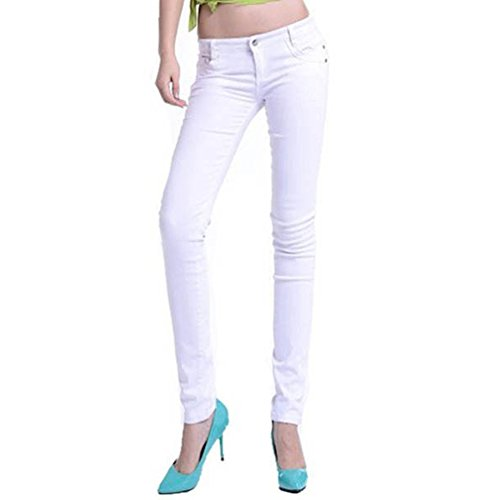 ROPALIA Womens Stretch Candy Color Low Waist Pencil Pants Slim Fit Skinny Jeans