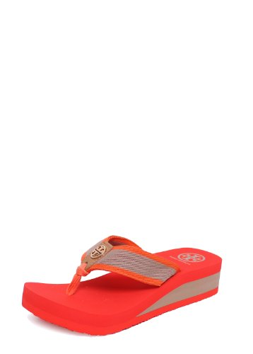 TB Ray 40MM Wedge Flip Flop Tiger Lily/Khaki/Honey 7