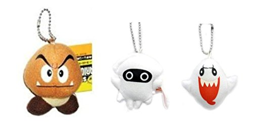 Mario Bros Goomba Costume (Super Mario Bros Goomba, Blooper, and Ghost Boo plush Keychain Set)