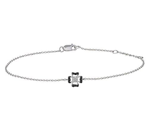 Or Blanc 9 ct Bracelet Diamant en forme de fleur, 0.03 Ct Diamant, GH-SI, 1.73 grammes.