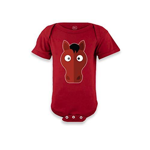 Cute Rascals Horse Short Sleeve Envelope Neck Boys-Girls Cotton Baby Bodysuit One Piece - Garnet, Newborn