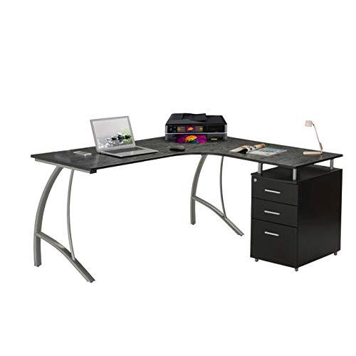 Techni Mobili Modern L- Shaped Computer Desk with File Cabinet and Storage. Color: Espresso
