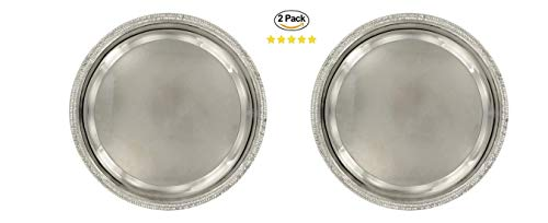 (2 Round Silver Nickel-Plated Serving Metal Trays. Hors D'oeuvres and Desserts Tray. Silver Wedding Dinner Party Platter. Banquet Charging Plates. Metal Food Circle Serving Tray Silver (9x12))