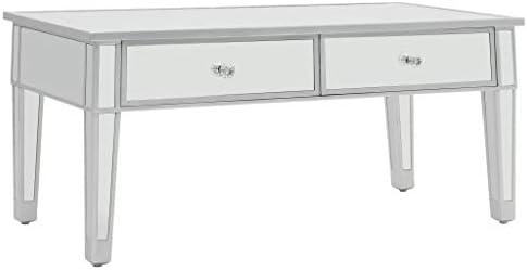 Grote Uitverkoop Tidyard salontafel, spiegel, MDF en glas, 2 schuifladen, 100 x 50 x 45 cm  LHOfasQ