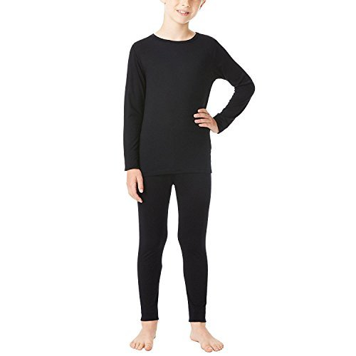 32 Degrees Weatherproof Big Boys Base Layer Thermal Shirt Long Underwear Set, Black  Small