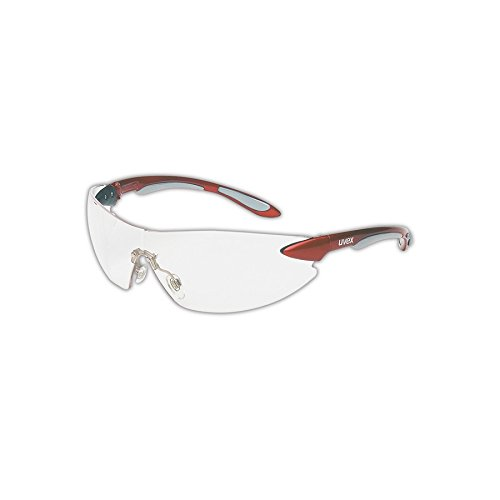 Uvex S4410X Ignite Safety Eyewear, Metallic Red and Silver Frame, Clear Uvextra Anti-Fog Lens