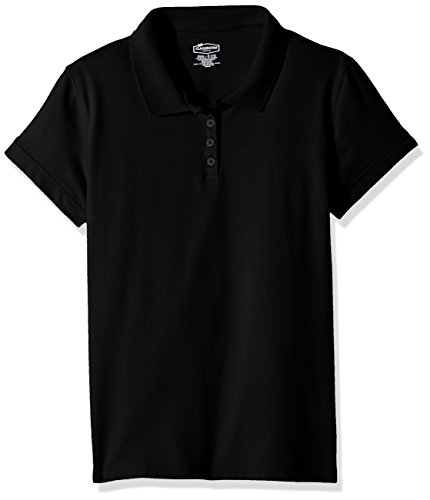 Classroom Big Girls' Stretch Pique Polo, Sos Black, (Pique Stretch Cap)