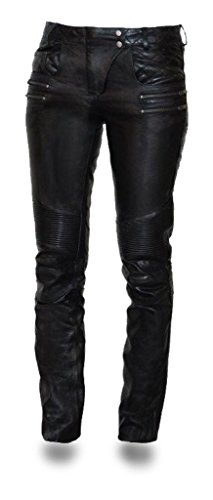 - First Mfg Co Vixen Women's Leather Motorcycle Pants (Black, Size 8)