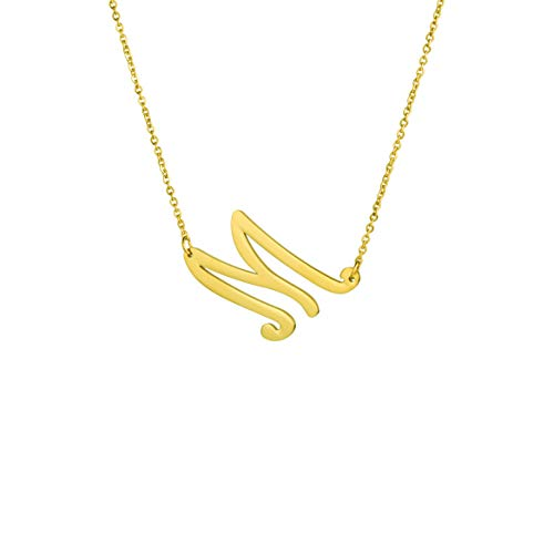 MEMGIFT M Necklace Oversize Letter Alphabet Sideways Pendant Jewelry Birthday Mother's Day Weeding Gifts for Women -
