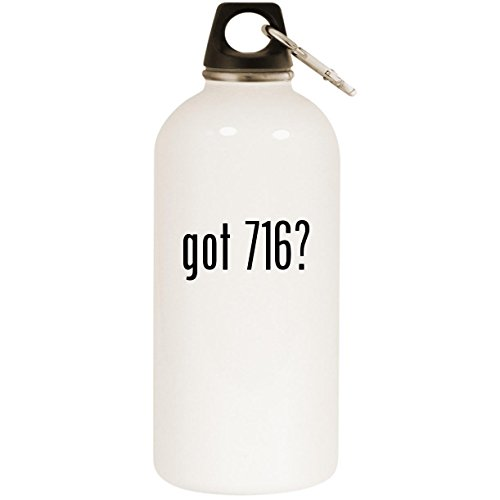 got 716? - White 20oz Stainless Steel Water Bottle with Carabiner ()