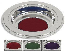 Silver Tone Offering Plates (Burgundy Felt Pad) (Plate Offering Silver)