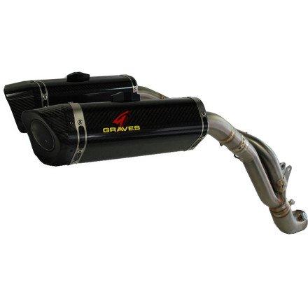 Graves Motorsports 2009-14 Yamaha R1 Cat Eliminator Link Exhaust System Carbon Fiber Canisters