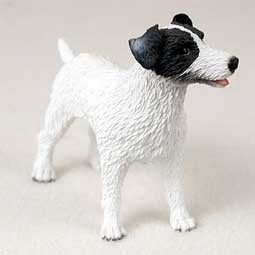 Jack Russell Rough Coat Black White Dog Figurine