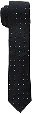 Calvin Klein Men's Black Grid Dot Skinny Tie