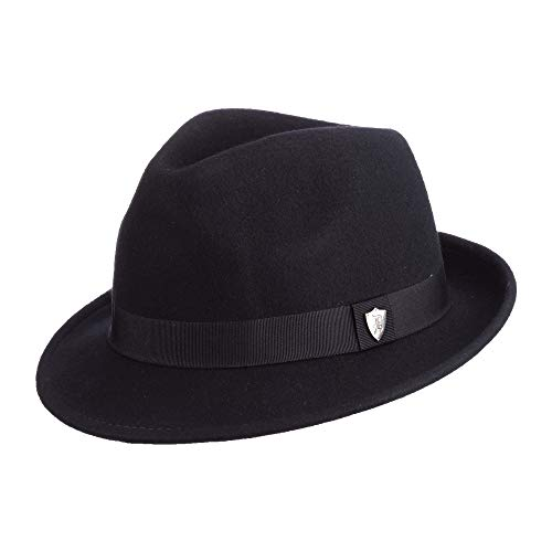 Wool Trilby Hat - Dorfman Pacific Men's Wool Felt Snap Brim Hat, Black, Large