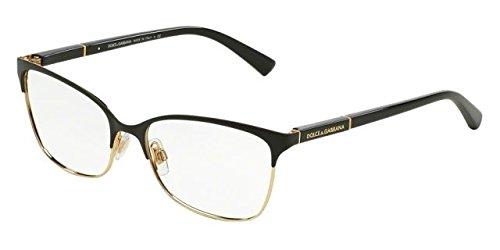 Dolce & Gabbana Logo Plaque Eyeglasses DG1268 025 Black/Gold 54 16 - Eyeglass Logos