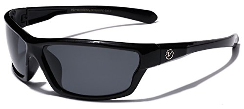 (Polarized Wrap Around Sport Sunglasses - Black )