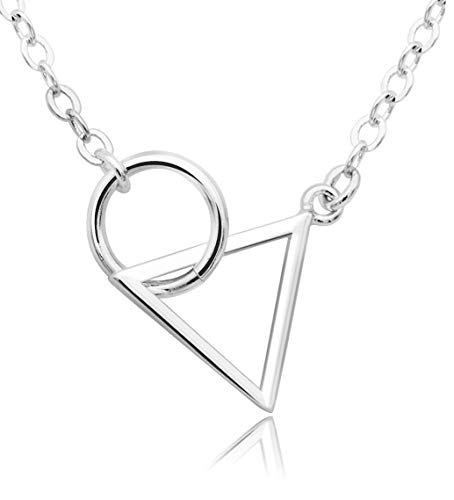 KristLand -S925 Sterling Silver Necklace Geometric Triangle Round Circle Pendant Chain Adjustable Long Jewelry for Women