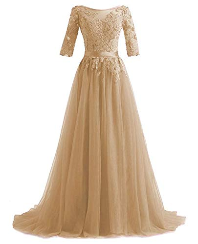 Huifany Sexy Scoop Neck Applique Beaded Tulle Long Formal Prom Gowns Champagne,Size 6