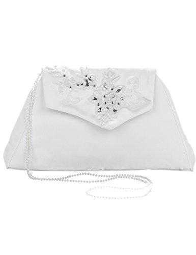 Princess Taufkleid Brauttasche aus Satin Weiß/Silber mit Stickerei und Perlenkette