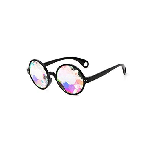 de agujeros Caleidoscopio de BESTOYARD Gafas Fiesta Iris Prisma de Marco Arco para Gafas Rave Fractal negro con aEqq5txdw