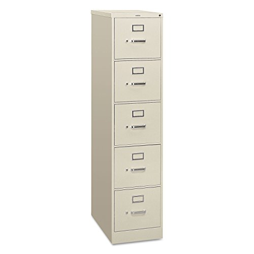 (HON 5-Drawer Filing Cabinet - 310 Series Full-Suspension Letter File Cabinet, 26-1/2d, Light Gray (H315) )