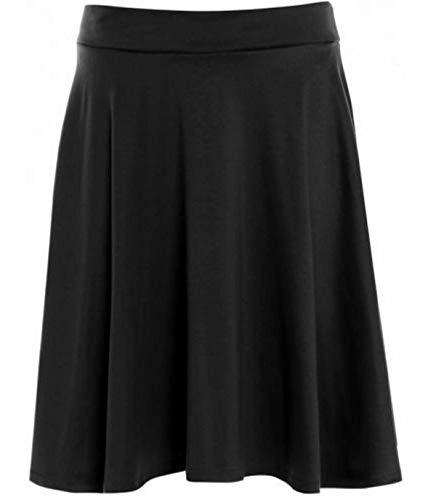 Womens Plain Soft Stretch Ladies Elasticated Waistband Knee Length Full Fla Swing Skater Midi Skirt