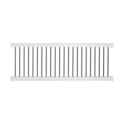 Bellaire 36 in. x 72 in. Vinyl White with Round Black Aluminum Spindles Straight Railing Kit by Weatherables