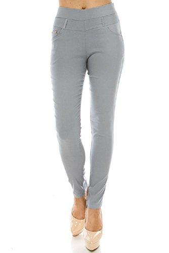 Jvini Womens Ultra Stretchy Pull-On Business Skinny Pants with Pockets