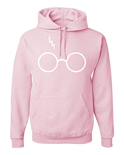 Wild Bobby Wizard Glasses Scar   Unisex Pop Culture Hooded Sweatshirt Graphic Hoodie, Light Pink, Small