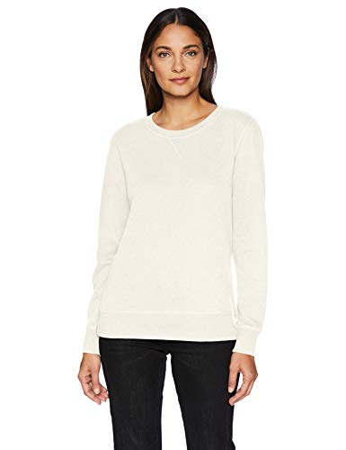 (Amazon Essentials Women's French Terry Fleece Crewneck Sweatshirt Sweater, -oatmeal heather, Medium)
