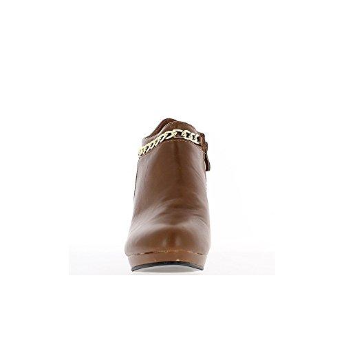 Bottines femme camel style richelieu talon de 9cm et mini plateau