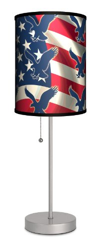 Lamp-In-A-Box SPS-TRV-FLEAG Travel Flag with Eagle Pattern Sport Silver Lamp, 7'' x 7'' x 20'' by Lamp-In-A-Box
