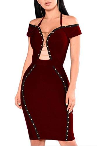 Da A V Abito Navy Sexy Clubwear Chyedas Aderente Scollo Red Midi Donna Tagliati Sleevelss Fasciatura UpVSzqM