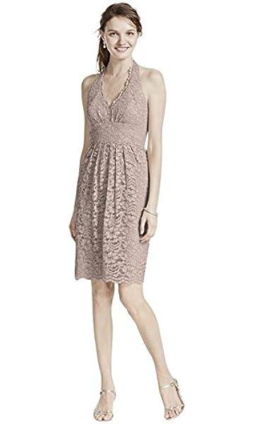 Short Halter Lace Bridesmaid Dress Style F15623