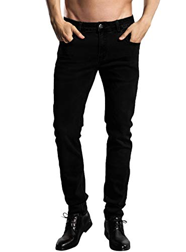 About Motorcycles T-shirt - ZLZ Slim Fit Jeans, Men's Younger-Looking Fashionable Colorful Super Comfy Stretch Skinny Fit Denim Jeans (28, Black)