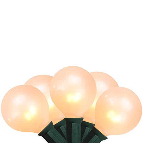 Northlight Seasonal Set of 15 White Pearl G50 Globe Christmas Lights - Green Wire -