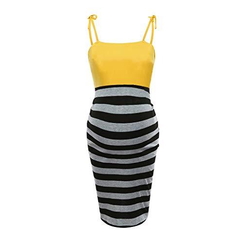 Huifa Fashion Maternity Striped Matching Sleeveless Dress Pregnant Breastfeeding Tunic Costume (Yellow,XXL) - Strapless Sweetheart Sash