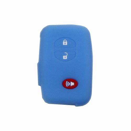 (3 Buttons Sky Blue Silicone Rubber Remote Key Jacket Holder Key Fob Skin Cover for Toyota 4runner Venza Avalon Land Cruiser Camry)
