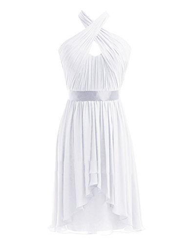 Kleider Halter Kurz Party Chiffon Wedding White Black Damen Fanciest Brautjungferkleider wt0R55