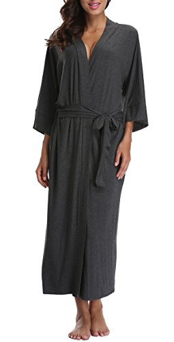 Coser Paradise Cotton Bathrobe Long Kimono Robe for Women M Deepgrey -