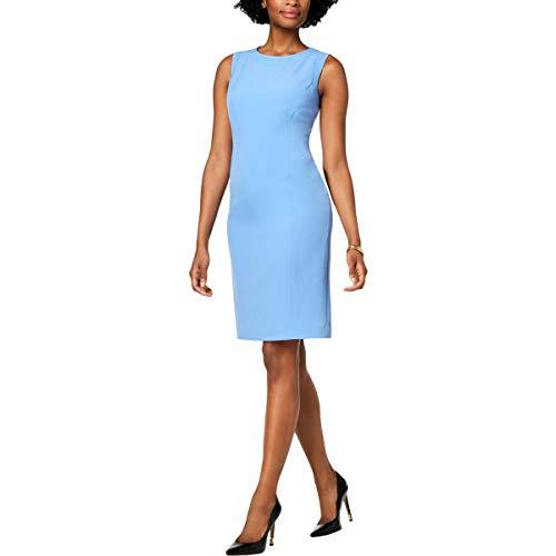 Kasper Women's Sleeveless Jewel Neck Stretch Crepe Dress, Blue Horizon, 18
