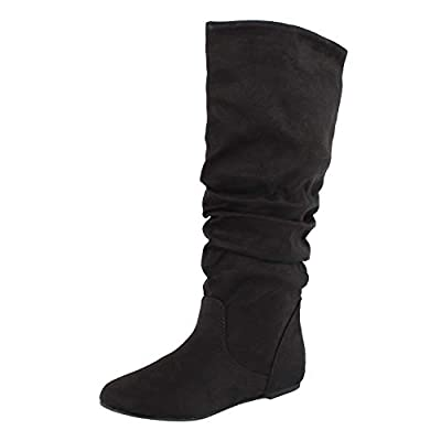 MVE Shoes High Knee Flat Round Toe Boots, Black Suede, size 7.5 | Mid-Calf