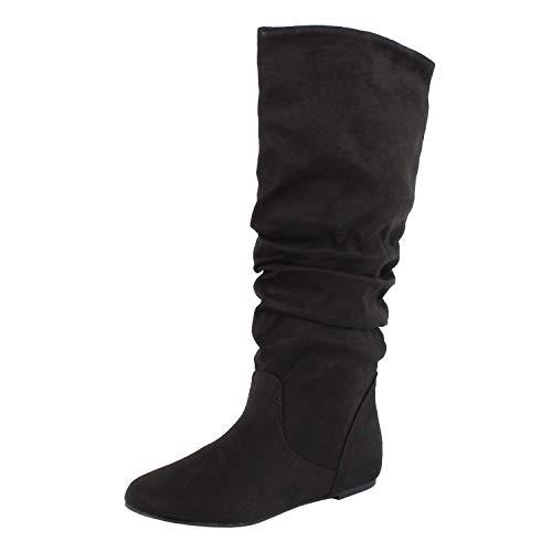 SODA Women's Zuluu Slouchy Faux Leather Knee HIgh Flats Boots - Knee Buckle Boot Slouch