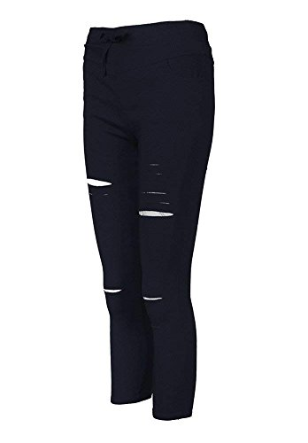 Nero Alta Fit Sportiva Jeans Skinny Strappati Matita Stirata Stretch Slim Vita A Donne Scarni Pantaloni RFvg6qgU