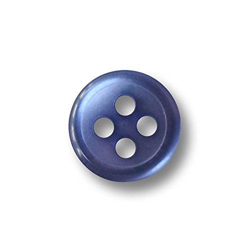 Knopfparadies - 25er Set hübsche sehr kleine blau schimmernde Vierloch Blusen / Hemden Knöpfe / perlmuttartig blau / Kunststoffknöpfe / Ø ca. 9mm