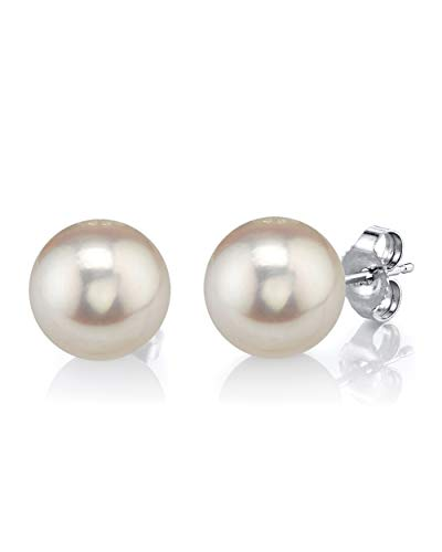 THE PEARL SOURCE 14K Gold 10-11mm Round White Freshwater Cultured Pearl Stud Earrings for Women (Sterling Freshwater Pearl Mounting Silver)