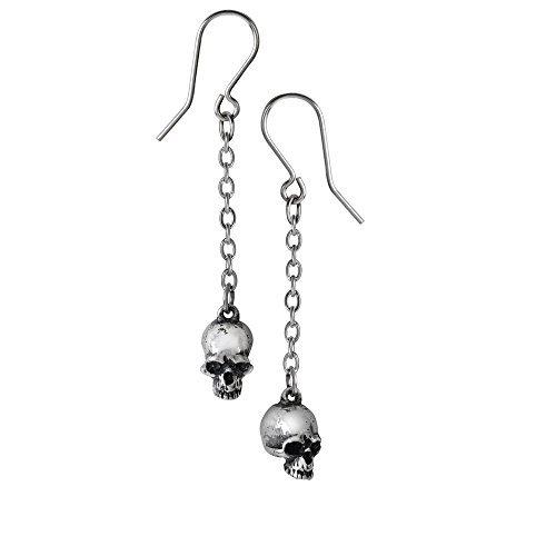 (Pewter Deadskull Dangle Chain Earrings)